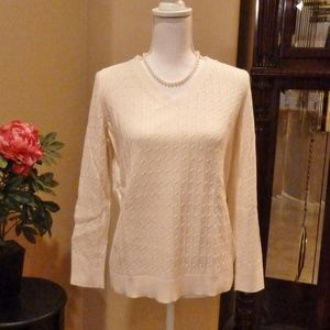 Talbots V-Neck Sweater Cable Knit Sz Lg